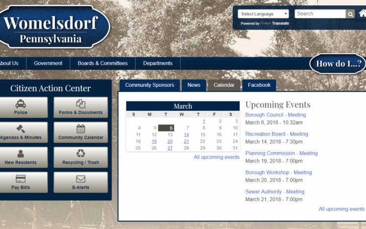 New Borough Website Homepage